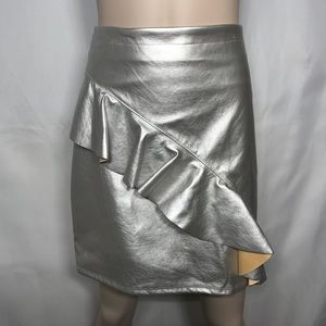 Silver pleather skirt plus size 18